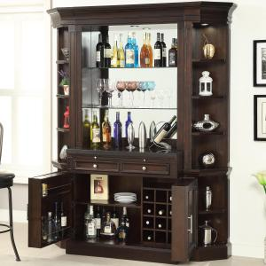 Parker House Stanford Library Bar with Granite Top and Wine Rack